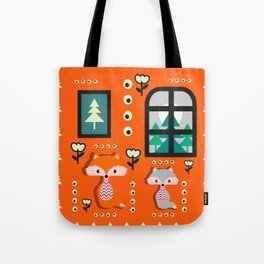 Little foxes waiting for Santa Tote Bag