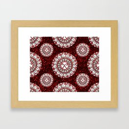 Red Glitter and Sparkling Candy Cane Mandala Textile Framed Art Print