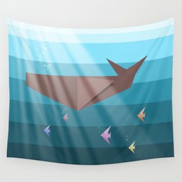 LIVING SEA (origami animals whales) Wall Tapestry