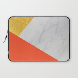 Carrara Marble with Gold and Pantone Flame Color Laptop Sleeve