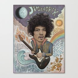 Jimi Hendrix - 11 Moons Played Across The Rainbows Canvas Print