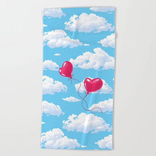 Two heart shaped red balloons Beach Towel