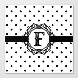 Black Monogram: Letter F Canvas Print