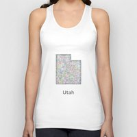 utah Tank Tops featuring Utah map by David Zydd
