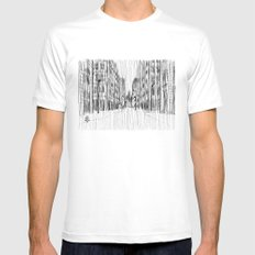 Fog and Rain: Cityscape (WHITEOUT) White MEDIUM Mens Fitted Tee