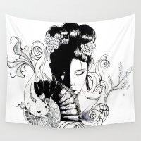 geisha Wall Tapestries featuring Geisha by deebaucheryy