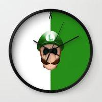 luigi Wall Clocks featuring Luigi by Oblivion Creative
