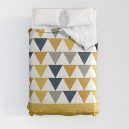 Arrows Cuff - Minimalist Geometric Color Block Pattern in Light and Dark Mustard, Grey, Navy Blue, and White Comforters