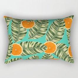 Oranges On Teal Exotic Rectangular Pillow