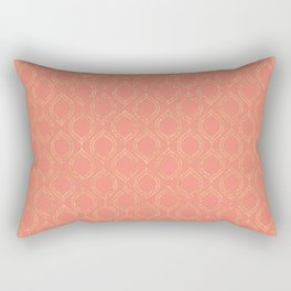 Coral And Gold Moroccan Chic Pattern Rectangular Pillow