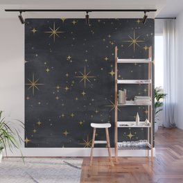 Gold Stars Black Ink Night Sky Magical Mid Century Pattern Wall Mural
