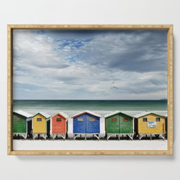 Beach Huts - Colorful houses and Sea, Cape Town, South Africa Serving Tray