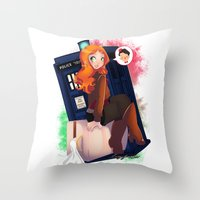 amy pond Throw Pillows featuring Doctor Who - Amy Pond by Lucy Fidelis
