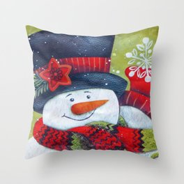 Snowman with Scarf Throw Pillow