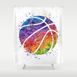 Basketball Ball Colorful Watercolor Sports Art Shower Curtain