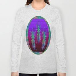 Decorative  Opal Beetles Triad  in a Purple-opal Nature Design Long Sleeve T-shirt
