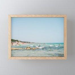 Summer in Italy | Spiaggia Pilone Puglia | Wanderlust beach photography print Framed Mini Art Print