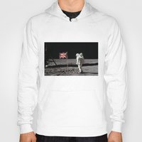 british flag Hoodies featuring British Flag on the Moon by Dan Levin's Objects of Curiosity