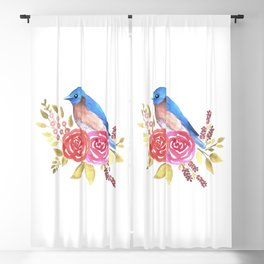 Cute bluebird on red roses Blackout Curtain