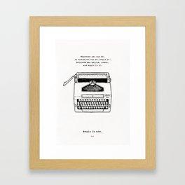 Begin It Now: Retro Typewriter Artwork Framed Art Print