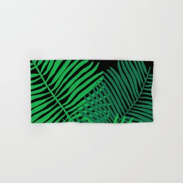 Modern Tropical Palm Leaves Painting black background Hand & Bath Towel