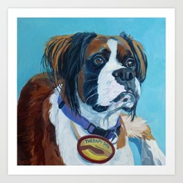 Nori the Therapy Boxer Dog Portrait Art Print