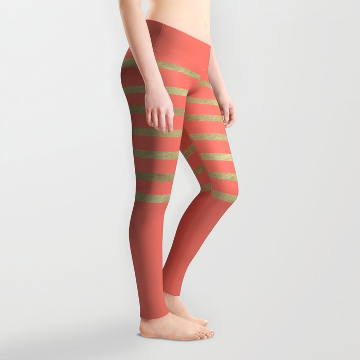 Peach and Gold Stripes Leggings