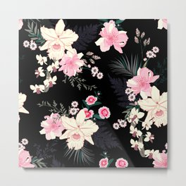 Beautiful Vintage Black Floral Pattern Metal Print