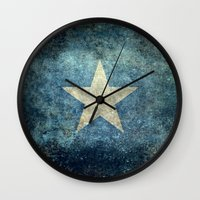 islam Wall Clocks featuring Somalian national flag - Vintage version by Bruce Stanfield