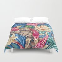 outdoor Duvet Covers featuring Koi Pond by Vikki Salmela