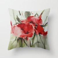 poppy Throw Pillows featuring poppy# by annemiek groenhout