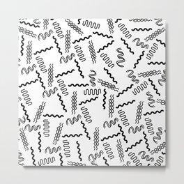 Abstract black white geometrical retro 80's pattern Metal Print