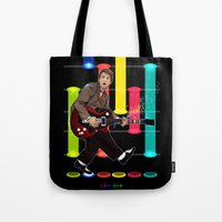 marty mcfly Tote Bags featuring Marty McFly plays Guitar Hero by Akyanyme