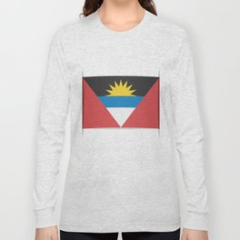 Flag of Antigua and Barbuda.  The slit in the paper with shadows. Long Sleeve T-shirt