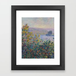 Flower Beds at Vetheuil by Claude Monet Framed Art Print