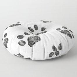 Black Paw Print Background Floor Pillow