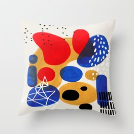 Fun Mid Century Modern Abstract Minimalist Vintage Primary Colors Blue Red Yellow Bubbles Throw Pillow