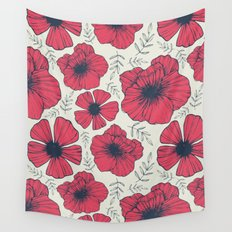 Raspberry Flowers Wall Tapestry