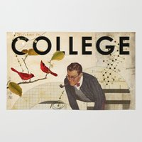 college Area & Throw Rugs featuring Welcome to... College by Heather Landis