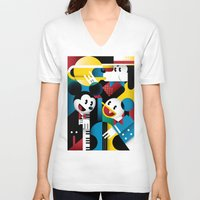 band V-neck T-shirts featuring Mickey's Band by Szoki