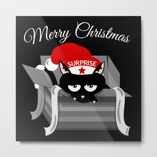 Naughty Cat Merry Christmas Metal Print