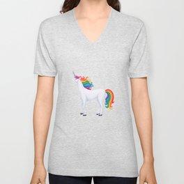 whimsy (rainbow unicorn) Unisex V-Neck