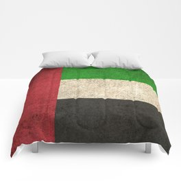 Old and Worn Distressed Vintage Flag of United Arab Emirates Comforters