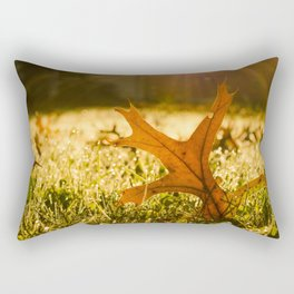 Fall Leaf in Morning Golden Sun Rays - Autumn Botanical Nature Photo Rectangular Pillow