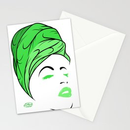 Lady Wrap (green) Stationery Cards