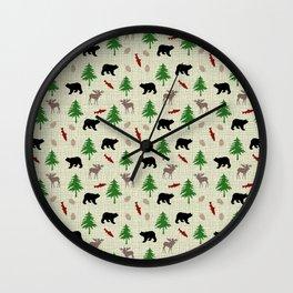 Moose & Bear Pattern Wall Clock