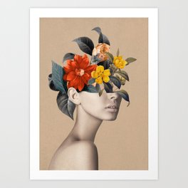 woman with flowers 8 Art Print