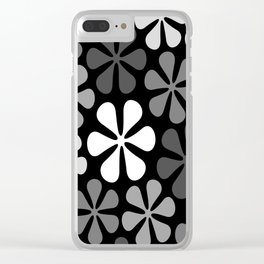 Abstract Flowers Monochrome Clear iPhone Case