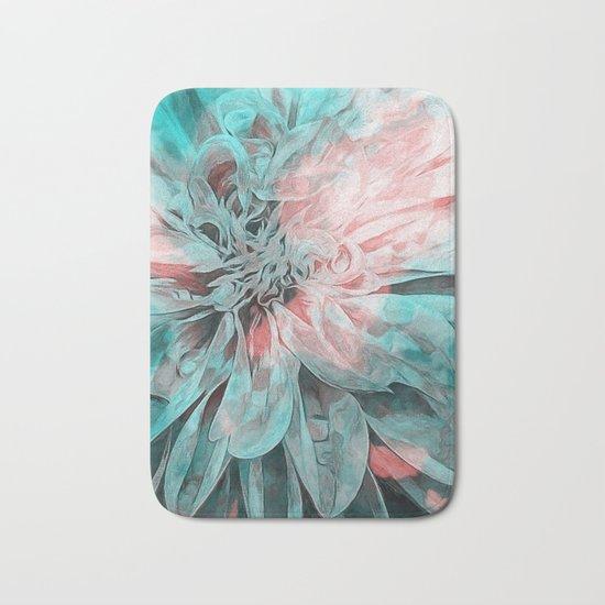 Abstract Floral Teal Bath Mat
