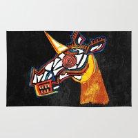 basquiat Area & Throw Rugs featuring Basquiat Skull Unicorn by That's So Unicorny